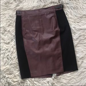 Ann Taylor Maroon Pencil Leather Skirt
